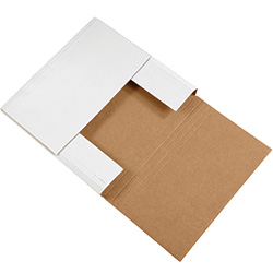 "12 1/2"" x 12 1/2"" x 2"" White Corrugated Bookfolds"