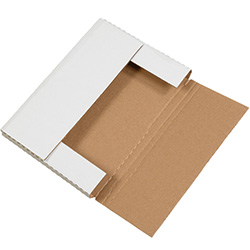 "12 1/8"" x 9 1/8"" x 1"" White Corrugated Bookfolds"