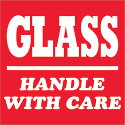 "3"" x 4"" - ""Glass - Handle With Care"" Labels"