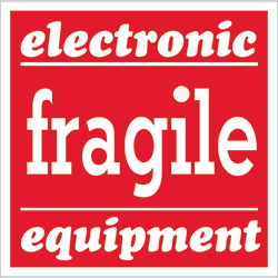 "4"" x 4"" - ""Fragile - Electronic Equipment"" Labels"