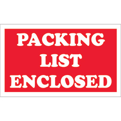 "3"" x 5"" - ""Packing List Enclosed"" Labels"