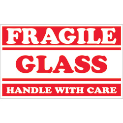 "3"" x 5"" - ""Fragile - Glass - Handle With Care"" Labels"
