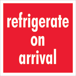 "4"" x 4"" - ""Refrigerate On Arrival"" Labels"