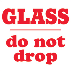 "3"" x 4"" - ""Glass - Do Not Drop"" Labels"